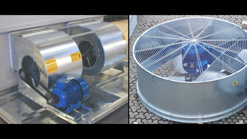 Chillers with Axial and Centrifugal Fans